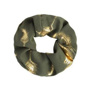 Scrunchie Golden Feather Navy