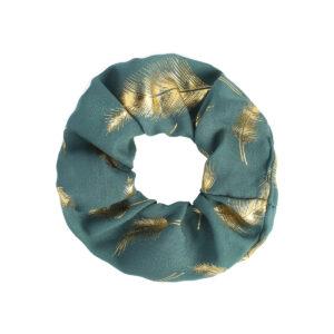 Scrunchie Golden Feather Petrol